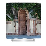 Frosted Almond Garden Wall With Red Brick Entrance Shower Curtain