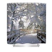 Frosty Boardwalk Shower Curtain