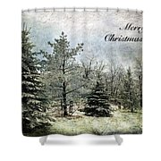 Frosty Christmas Card Shower Curtain