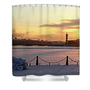 Frosty Evening In The City On The River Shower Curtain