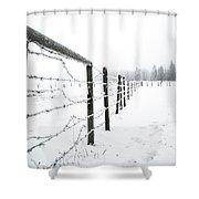 Frosty Fenceline Shower Curtain