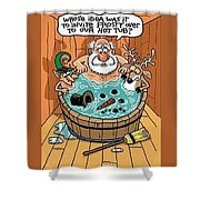 Frosty In A Hot Tub Shower Curtain