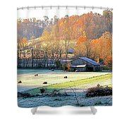 Frosty Morning On The Farm Shower Curtain
