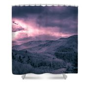 Frosty Mountain Sunrise Shower Curtain