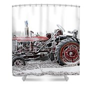 Frosty Tractor Shower Curtain