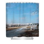 Frosty Wreath Shower Curtain