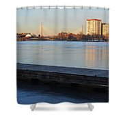Frozen Dock On The Charles River Shower Curtain
