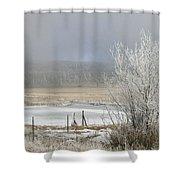 Frozen Fog Ranch Scene Shower Curtain