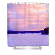 Frozen Lake Sunset 2  Shower Curtain