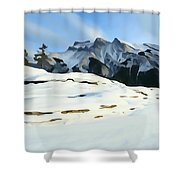Frozen Mountain Lakeshore Shower Curtain