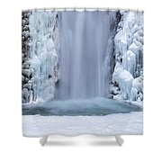 Frozen Multnomah Falls Closeup Shower Curtain