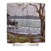 Frozen Niagara River Shower Curtain