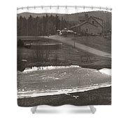 Frozen Pond Camp Ground Panorama Shower Curtain