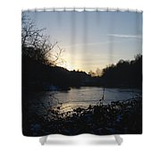Frozen Pool At Sunset Shower Curtain