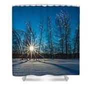 Frozen Trees Under A Winter Sunset Shower Curtain