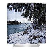 Frozen View Of Ellingson Island Shower Curtain