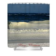 Frozen Waves Christmas Card Shower Curtain