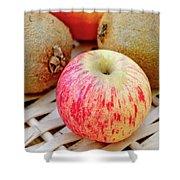 Fruit Basket. Apple. Shower Curtain