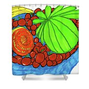Fruit In A Blue Bowl Shower Curtain