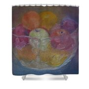 Fruit In Glass Bowl Shower Curtain by Sheila Mashaw