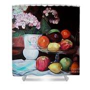 Fruit On Glass Dish II Shower Curtain