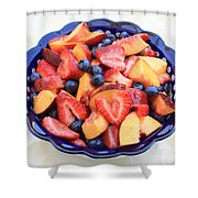 Fruit Salad In Blue Bowl Shower Curtain by Carol Groenen