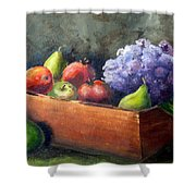 Fruit With Hydrangea Shower Curtain