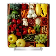 Fruits And Vegetables In Compartments Shower Curtain by Garry Gay