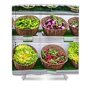 Fruits And Vegetables On A Supermarket Shelf Shower Curtain