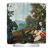 Fruits Flowers And Vegetables In A Landscape Shower Curtain