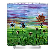 Fruity Flowerfield Shower Curtain