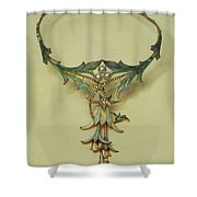 Fuchsia Necklace Alphonse Maria Mucha Shower Curtain