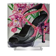 Fuchsia Orchid Colour Block Shower Curtain by Karon Melillo DeVega