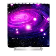 Fuchsia Pink Galaxy, Bright Stars Shower Curtain