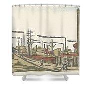 Fukagawa Bedrijventerrein  Maekawa Senpan  1945 Shower Curtain