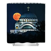 Full Blood Moon Over The Magnificent St. Sava Temple In Belgrade Shower Curtain