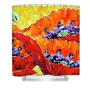 Full Bloom Poppies By Prankearts Fine Art Shower Curtain