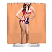 Full Body Pin-up Girl. American Retro Style Shower Curtain
