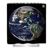 Full Earth Showing North And South Shower Curtain by Stocktrek Images