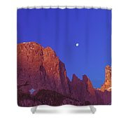 Full Moon At Dawn In The Dolomites Shower Curtain