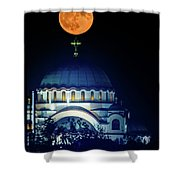 Full Moon Directly Over The Magnificent St. Sava Temple In Belgrade Shower Curtain