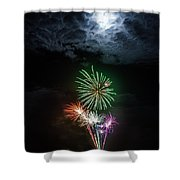 Full Moon Fireworks Shower Curtain