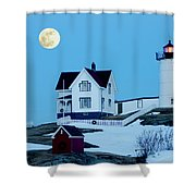 Full Moon Nubble Shower Curtain