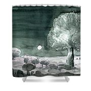 Full Moon Olive Tree  Shower Curtain