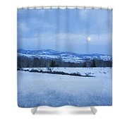 Full Moon Over A Field Of Snow Shower Curtain