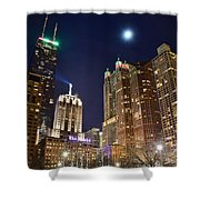 Full Moon Over Chi Town Shower Curtain
