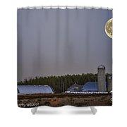 Full Moon Over Farm. Shower Curtain