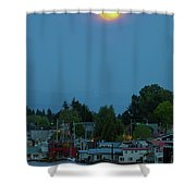 Full Moon Over Floating Homes On Columbia River Shower Curtain