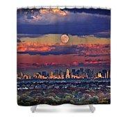 Full Moon Over New York City In October Shower Curtain
