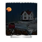 Full Moon Over Nubble Shower Curtain